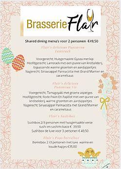 Paas Shared Dining Deliciousmenu_s voor 2 personen 49,50 Brasserie Flair Gasselte